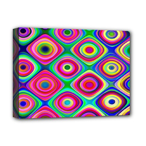 Psychedelic Checker Board Deluxe Canvas 16  X 12  (framed)  by KirstenStar