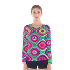 Psychedelic Checker Board Women s Long Sleeve T-shirt by KirstenStar