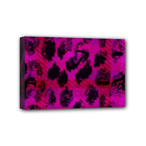 Pink Leopard Mini Canvas 6  X 4  (framed) by ArtistRoseanneJones