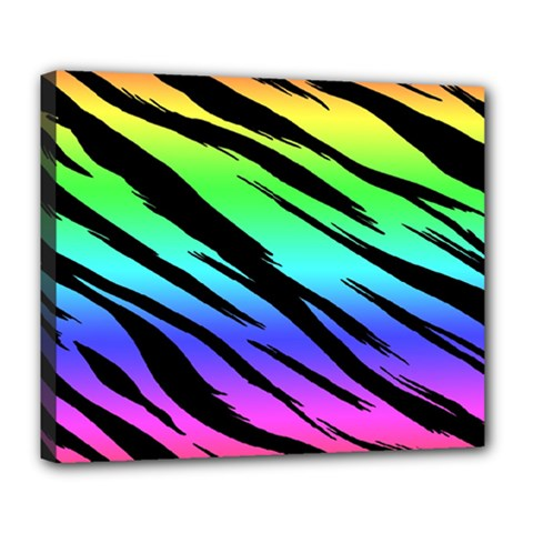 Rainbow Tiger Deluxe Canvas 24  X 20  (framed) by ArtistRoseanneJones