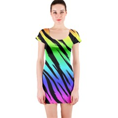 Rainbow Tiger Short Sleeve Bodycon Dress