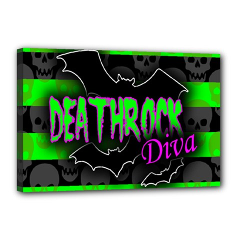 Deathrock Diva Canvas 18  X 12  (framed) by ArtistRoseanneJones