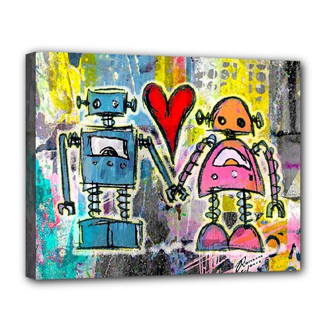 Graffiti Pop Robot Love Canvas 14  x 11  (Framed) by ArtistRoseanneJones