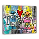 Graffiti Pop Robot Love Canvas 20  x 16  (Framed)