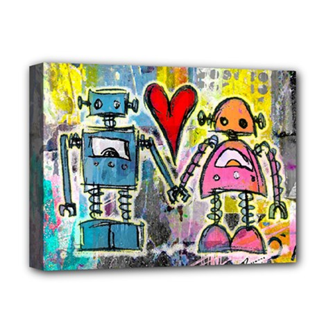 Graffiti Pop Robot Love Deluxe Canvas 16  X 12  (framed)  by ArtistRoseanneJones