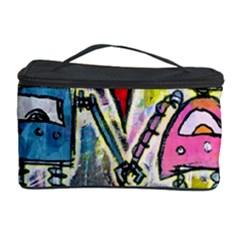 Graffiti Pop Robot Love Cosmetic Storage Case by ArtistRoseanneJones