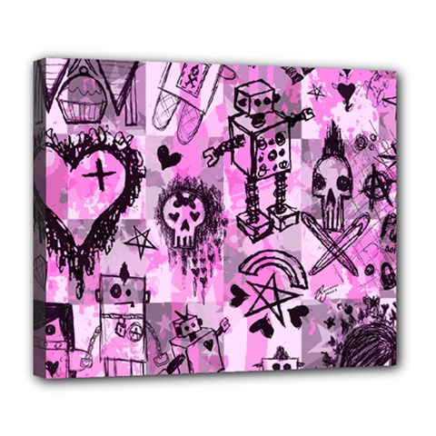 Pink Scene Kid Sketches Deluxe Canvas 24  X 20  (framed) by ArtistRoseanneJones