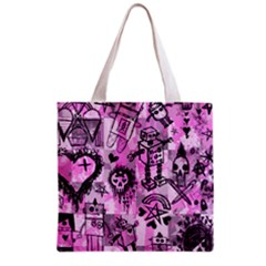 Pink Scene Kid Sketches Grocery Tote Bag by ArtistRoseanneJones