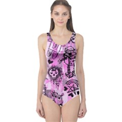 Pink Scene Kid Sketches One Piece Swimsuit by ArtistRoseanneJones