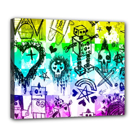 Rainbow Scene Kid Sketches Deluxe Canvas 24  X 20  (framed) by ArtistRoseanneJones