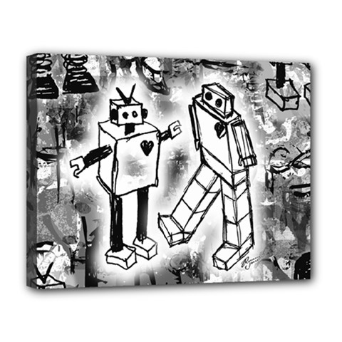 Robot Love Canvas 14  X 11  (framed) by ArtistRoseanneJones