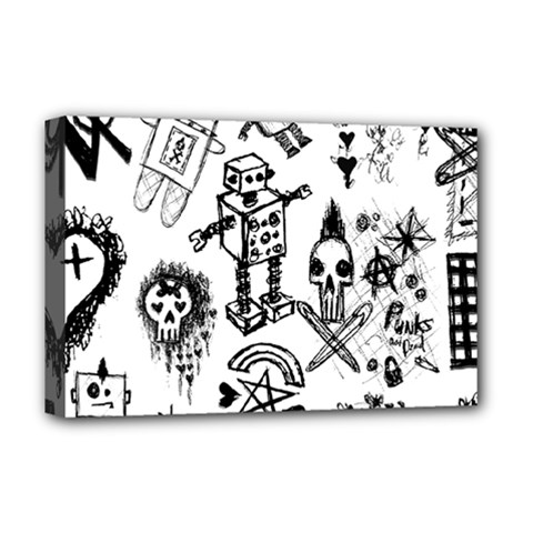 Scene Kid Sketches Deluxe Canvas 18  X 12  (framed) by ArtistRoseanneJones