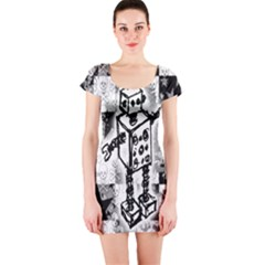 Sketched Robot Short Sleeve Bodycon Dress