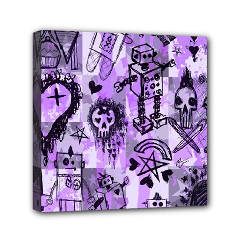 Purple Scene Kid Sketches Mini Canvas 6  X 6  (framed) by ArtistRoseanneJones