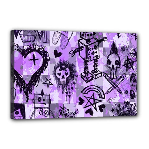 Purple Scene Kid Sketches Canvas 18  X 12  (framed) by ArtistRoseanneJones