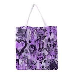 Purple Scene Kid Sketches Grocery Tote Bag by ArtistRoseanneJones