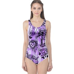 Purple Scene Kid Sketches One Piece Swimsuit by ArtistRoseanneJones