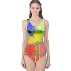 Colorful paint spots Women s One Piece Swimsuit by LalyLauraFLM