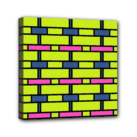 Pink,green,blue Rectangles Pattern Mini Canvas 6  X 6  (stretched) by LalyLauraFLM