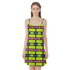 Pink Green Blue Rectangles Pattern Satin Night Slip