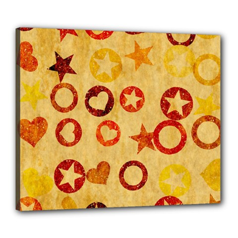 Shapes On Vintage Paper Canvas 24  X 20  (stretched) by LalyLauraFLM