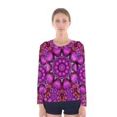 Pink Fractal Kaleidoscope  Women s Long Sleeve T-shirt by KirstenStar
