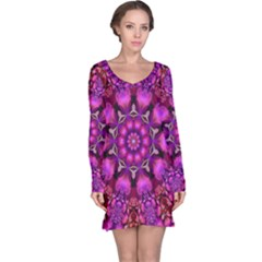 Pink Fractal Kaleidoscope  Long Sleeve Nightdress