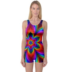 Rainbow Flower One Piece Boyleg Swimsuit