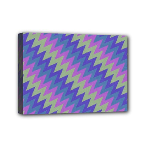 Diagonal Chevron Pattern Mini Canvas 7  X 5  (stretched) by LalyLauraFLM