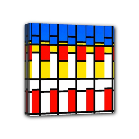 Colorful Rectangles Pattern Mini Canvas 4  X 4  (stretched) by LalyLauraFLM