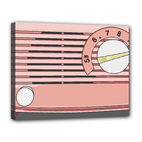Pink Retro Radio Canvas 14  X 11  (framed) by hoddynoddy
