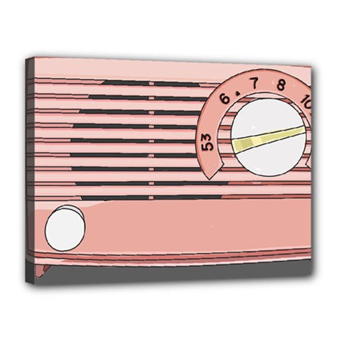 Pink Retro Radio Canvas 16  X 12  (framed) by hoddynoddy