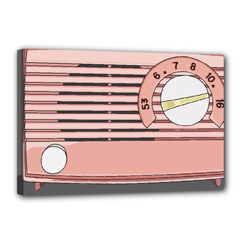 Pink Retro Radio Canvas 18  X 12  (framed) by hoddynoddy