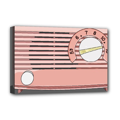 Pink Retro Radio Deluxe Canvas 18  X 12  (framed) by hoddynoddy