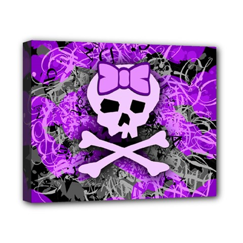 Purple Girly Skull Canvas 10  X 8  (framed) by ArtistRoseanneJones