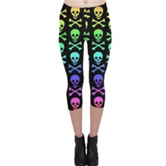 Rainbow Skull and Crossbones Pattern Capri Leggings  by ArtistRoseanneJones