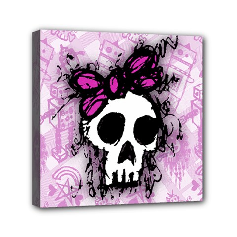 Sketched Skull Princess Mini Canvas 6  X 6  (framed) by ArtistRoseanneJones