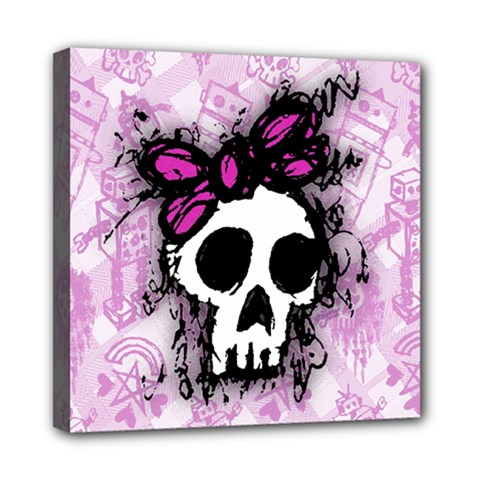 Sketched Skull Princess Mini Canvas 8  X 8  (framed) by ArtistRoseanneJones