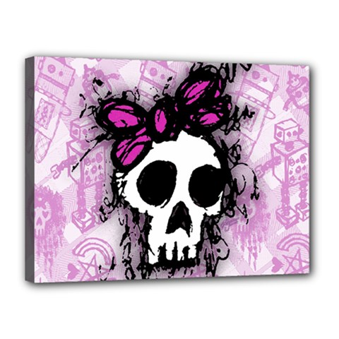 Sketched Skull Princess Canvas 16  X 12  (framed) by ArtistRoseanneJones