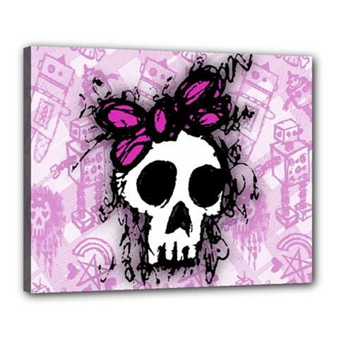 Sketched Skull Princess Canvas 20  x 16  (Framed)