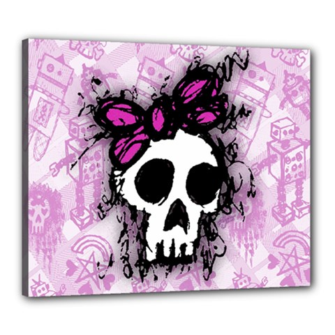Sketched Skull Princess Canvas 24  X 20  (framed) by ArtistRoseanneJones
