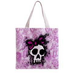 Sketched Skull Princess Grocery Tote Bag by ArtistRoseanneJones
