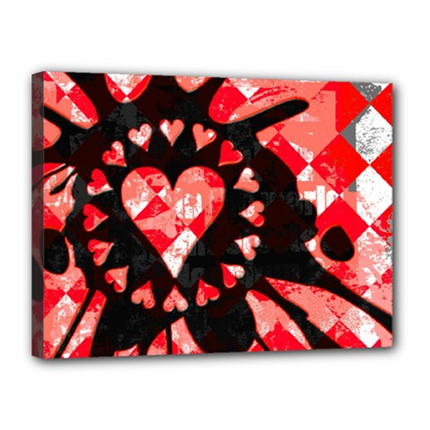 Love Heart Splatter Canvas 16  x 12  (Framed) by ArtistRoseanneJones