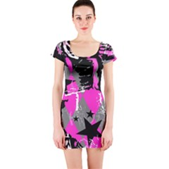 Pink Scene Kid Short Sleeve Bodycon Dress
