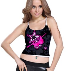 Pink Star Graphic Spaghetti Strap Bra Top by ArtistRoseanneJones