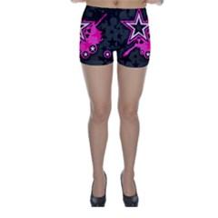 Pink Star Graphic Skinny Shorts by ArtistRoseanneJones