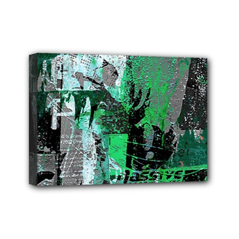 Green Urban Graffiti Mini Canvas 7  X 5  (framed) by ArtistRoseanneJones