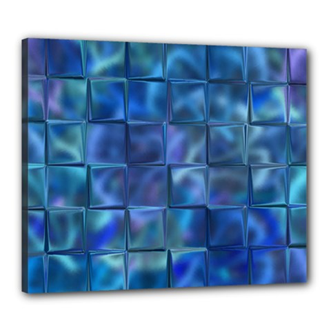 Blue Squares Tiles Canvas 24  X 20  (framed) by KirstenStar