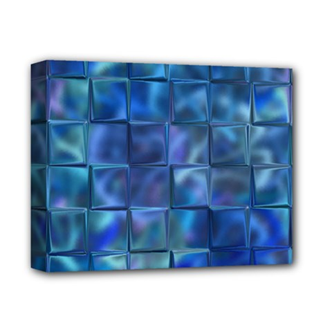 Blue Squares Tiles Deluxe Canvas 14  X 11  (framed) by KirstenStar