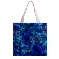 Blue Squares Tiles Grocery Tote Bag by KirstenStar